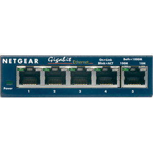 Netgear ProSafe GS105GE 5 poorten Ethernetswitch - 5 x Gigabit Ethernet Netwerk - Twisted-pair - 2 Layer Supported - Levenslang Limited Warranty