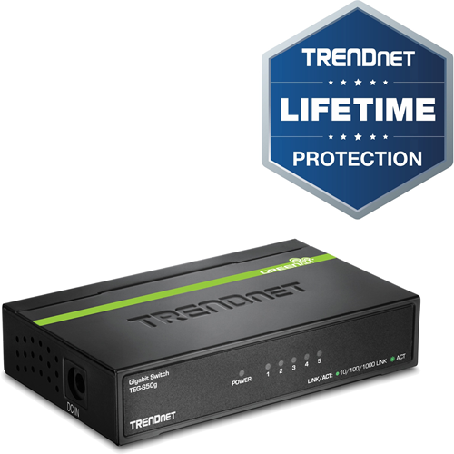 TRENDnet TEG-S50G 5 poorten Ethernetswitch - 5 x Gigabit Ethernet Netwerk - 2 Layer Supported