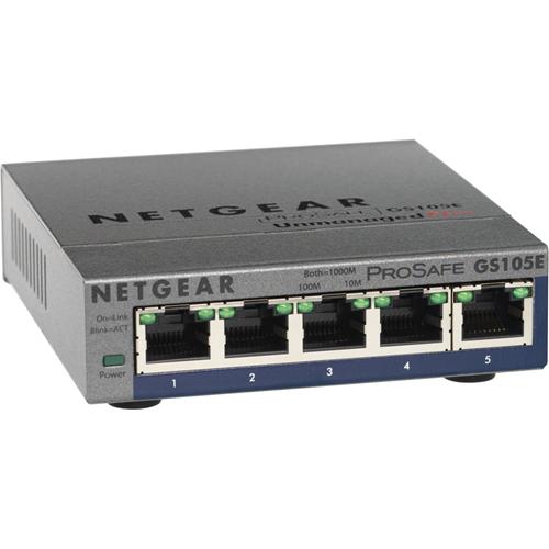 Netgear ProSafe GS105E 5 poorten Beheer mogelijk Ethernetswitch - 2 Layer Supported - Bureaublad, Monteerbaar in rek - Levenslang Limited Warranty