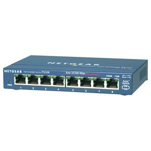 Netgear ProSafe FS108 8 poorten Ethernetswitch - 2 Layer Supported - Bureaublad, Op muur monteerbaar - Levenslang Limited Warranty