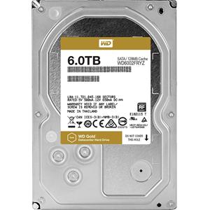 """WD Gold WD6002FRYZ 6 TB 3.5"""" Intern Harde schijf - SATA - 7200rpm - 128 MB buffer"""